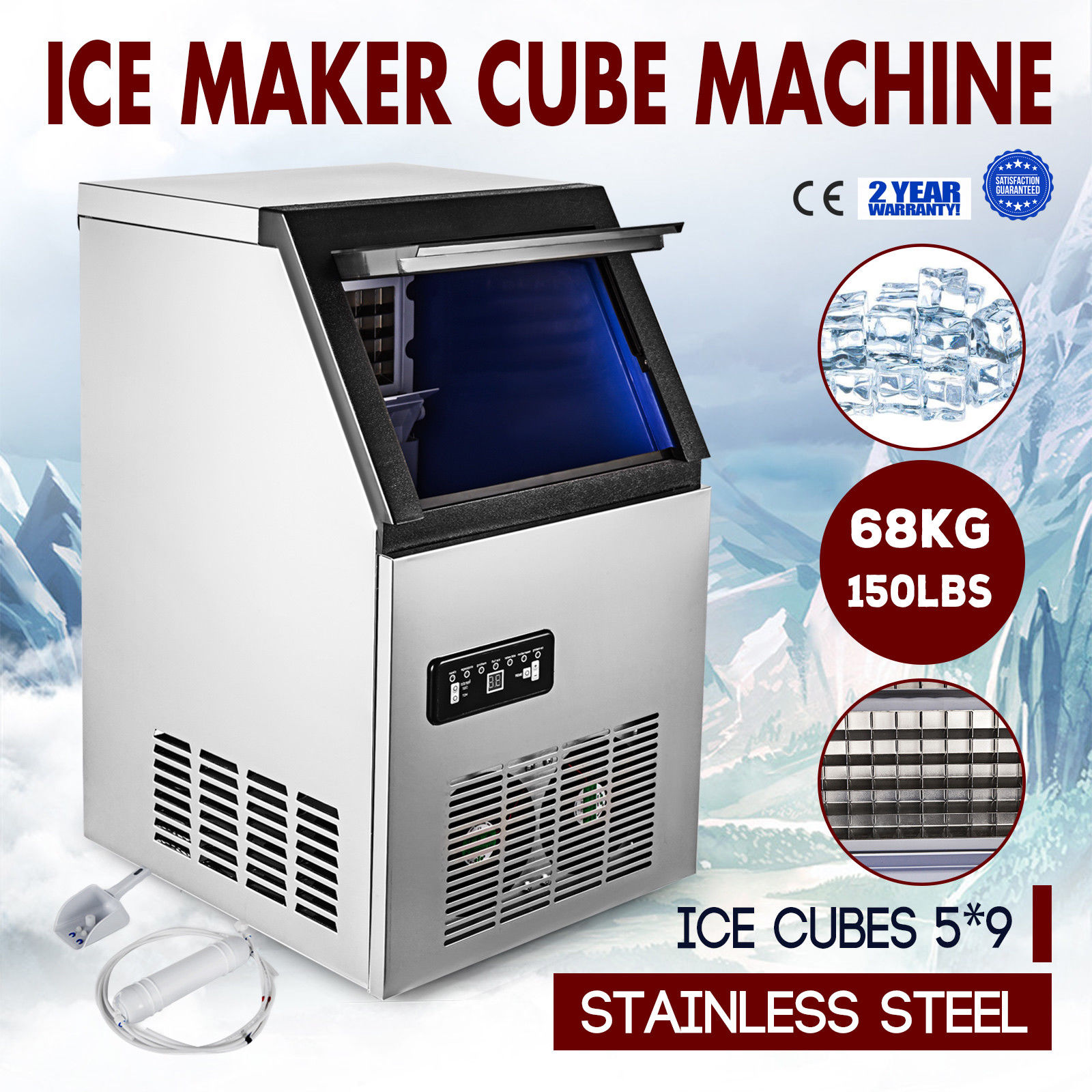 COMMERCIAL ICE MAKER STAINLESS STEEL MACHINE 68KG/24HR RESTAURANT BAR ICEMAKER