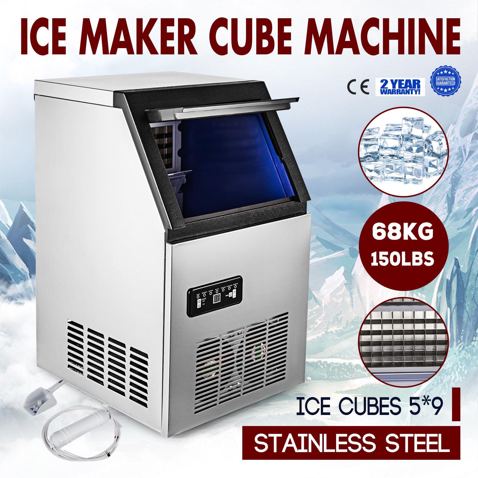 COMMERCIAL ICE MAKER STAINLESS STEEL MACHINE 68KG/24HR RESTAURANT BAR ICEMAKER