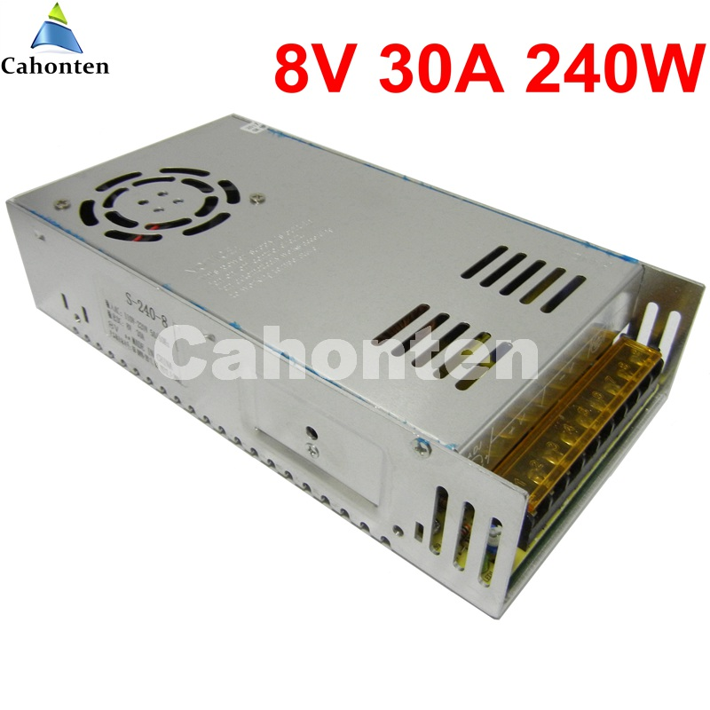 8V 30A 240W Switching power supply built-in cooling fan DC transformer AC 110V 220V input security led sign SMPS led display rainproof power supply output dc 12v 30a 360w monitor adapter for led strip outdoor new built in cooling fan