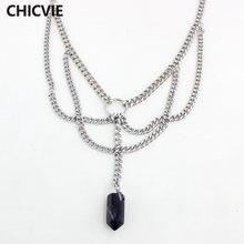 Chicvie ожерелье серебряного цвета с камнем длинные эффектные