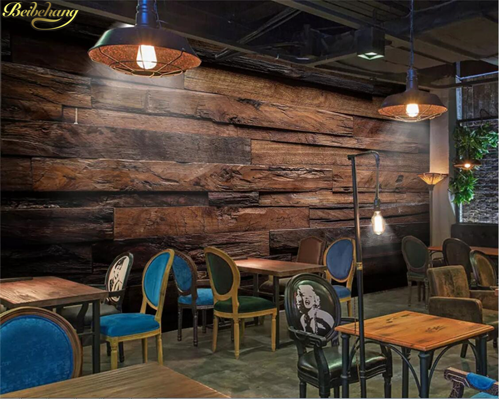 Beibehang Custom Photo Wallpaper Mural Wood Block Together Wood Grain Bar Restaurant Cafe Background Wall Papers Home Decor