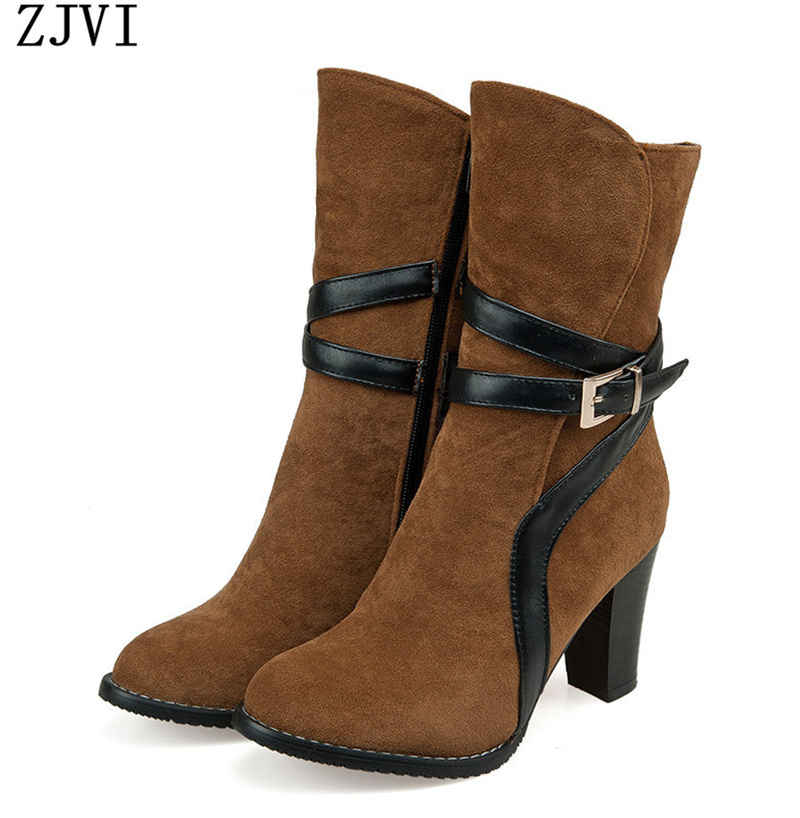 ФОТО ZJVI womens nubuck high heels women mid calf boots female Black brown red Spike Winter fashion buckle worm short plush shoes