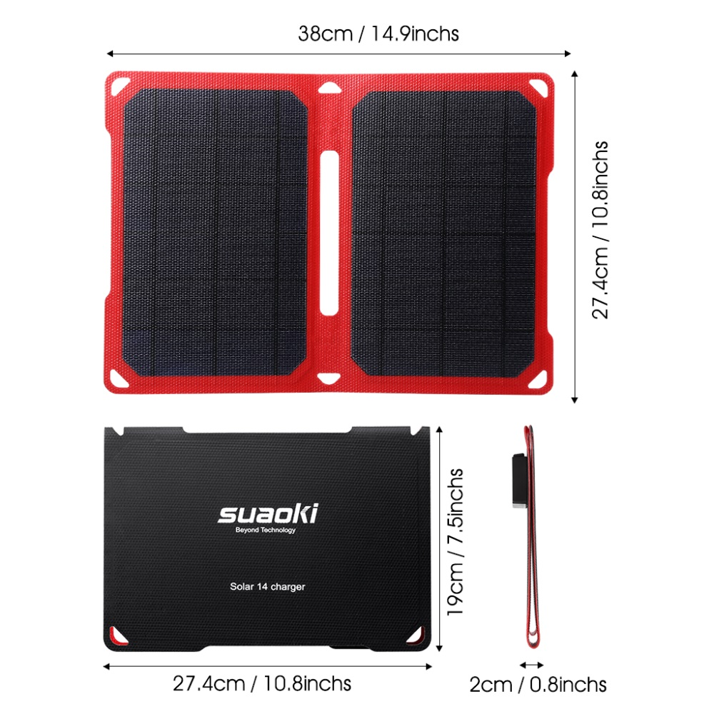 Suaoki 14W Foldable Portable Solar Panel ETFE Solar Cells With Dual Port Waterproof Mobile Power Bank For Phone Tablet foldable portable phone flat bracket