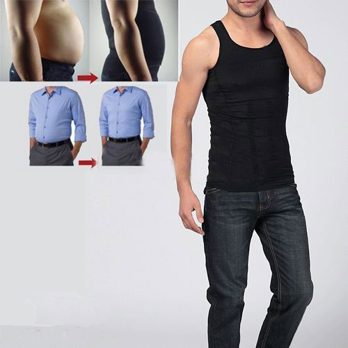 Hot sales Men Shaper Vest Body Slimming Tummy Belly Waist Girdle Shirt Shapewear Underwear 3
