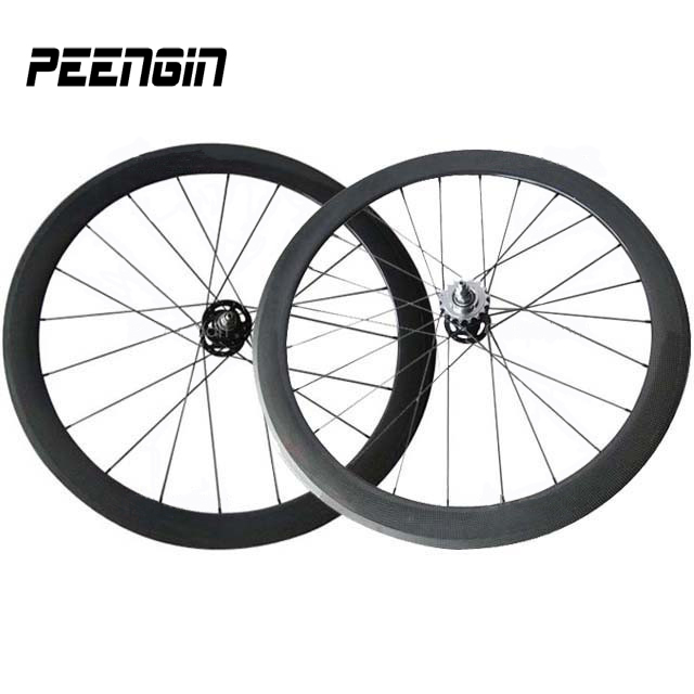 High end <font><b>Fixie</b></font> <font><b>bike</b></font> parts carbon track bicycle <font><b>wheels</b></font> 25mm width 50mm depth tubular full carbon single speed cycling wheelsets image