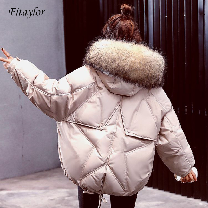 Fitaylor New Winter   Down   Jackets Women Large Natural Raccoon Fur Hooded White Duck   Down     Coat   Parkas Female Warm Snow Outwear