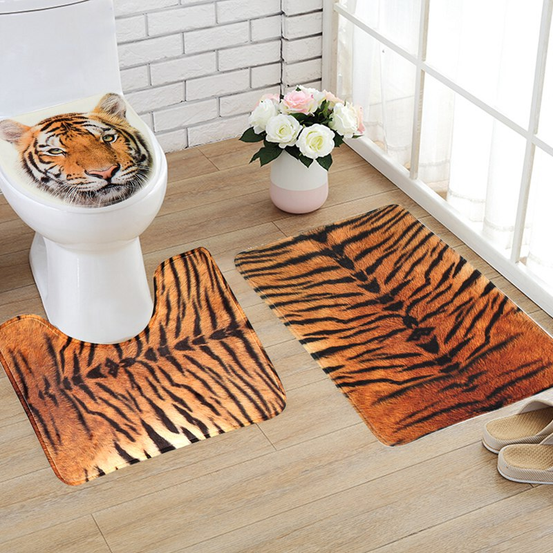 NEW!!!3Pcs/set Bathroom Non Slip Tiger Texture Pedestal Rug + Lid ...