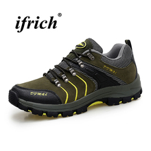 Man Hiking Shoes Army Green Orange Male Tactical Sneakers Spring Autumn Mountain Footwear Anti-slip Rubber Bottom Camping Shoes недорого
