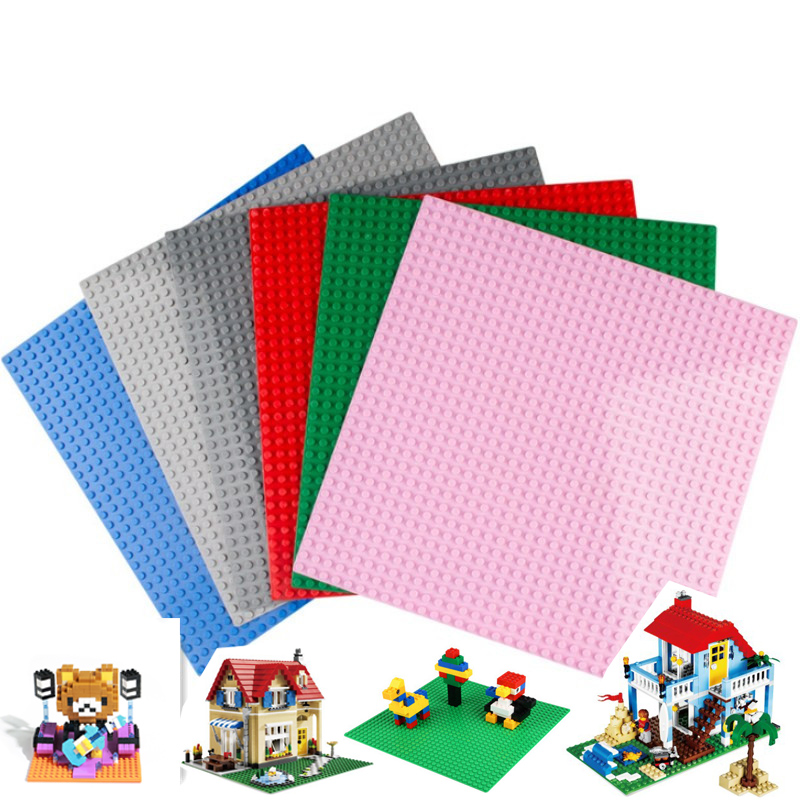 32*32  28*56 Dots Base Plate for Small Bricks Baseplate Board DIY Building Blocks Compatible with Legoinig Toys for Children 32 32 dots plastic bricks the island straight crossroad curve green meadow road plate building blocks parts bricks toys diy