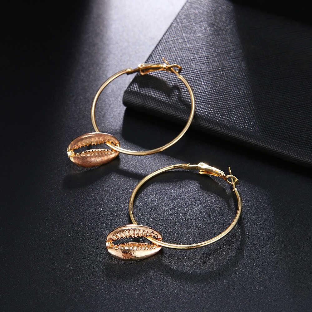 Round Geometric Alloy Heart Drop Earrings For Women Vintage Gold Dangle Copper Za Shell Earring Boho 2019 Female Fashion Jewelry