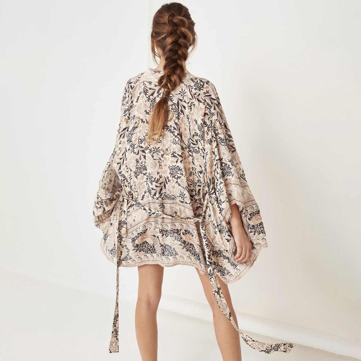 Oasis Boho Короткое Кимоно для женщин 2019 Лето с коротким рукавом цветочный принт Кардиган Куртка женская богемная пляжная одежда верхняя одежда