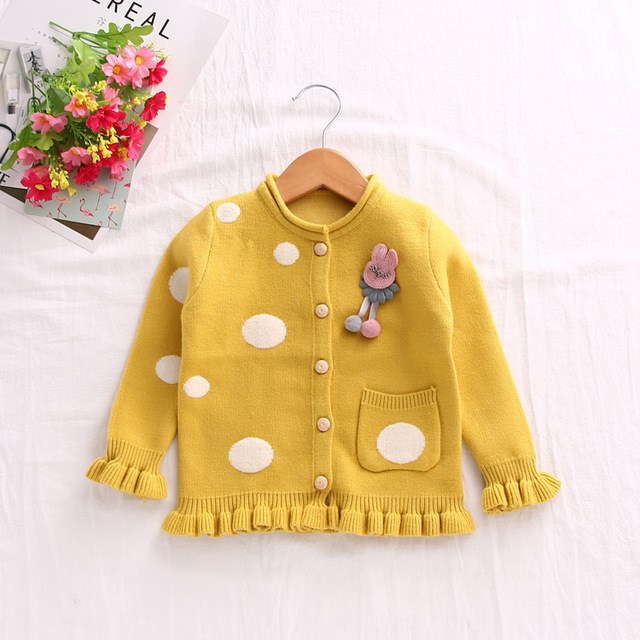 d1cdd8b90 Fall Winter New Kids Girls Cute Dot Knitted Sweaters Cardigan Baby ...