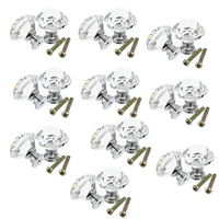 DSHA New Hot 10pcs 30mm Diamond Crystal Glass Door Drawer Cabinet Furniture Handle Knob Screw