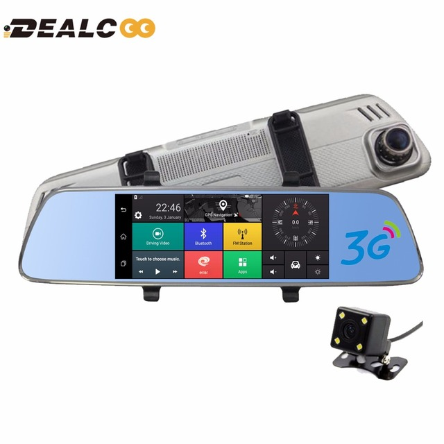 3G WCDMA 5.0 GPS Navi 7 Polegada Carro DVR Câmera de vídeo gravador de Bluetooth FM WIFI Dual Lens espelho retrovisor Camcorder Traço cam dvrs