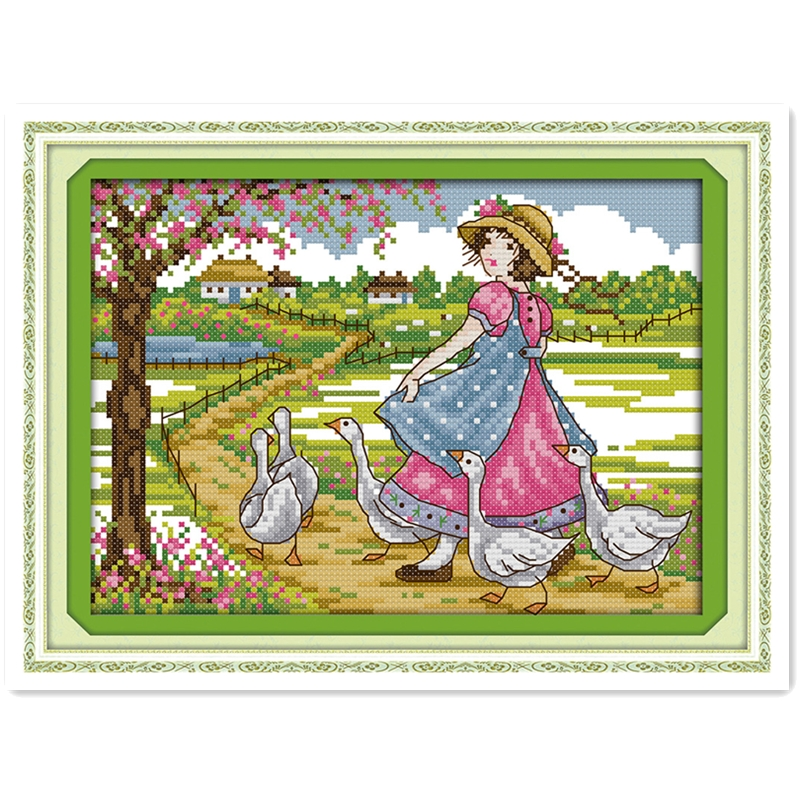 Grazing Geese Girl DMC Cross Stitch Fabric Embroidery Cross Set Painting Chinese Counted Cross Stitch Patterns Kit Home Decor