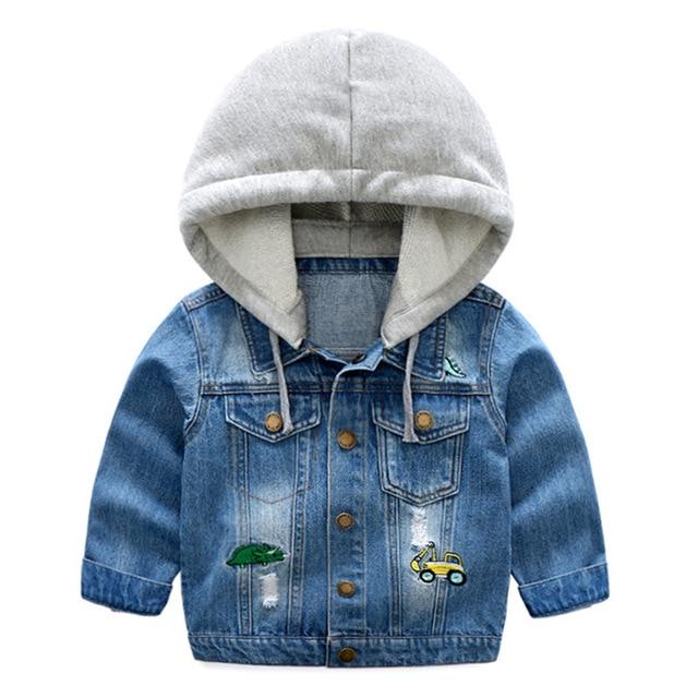 New Boys Denim Jacket Classic Zipper Hooded Outerwear Coat Spring Autumn Children Clothing Kids Jacket Coat Hooded