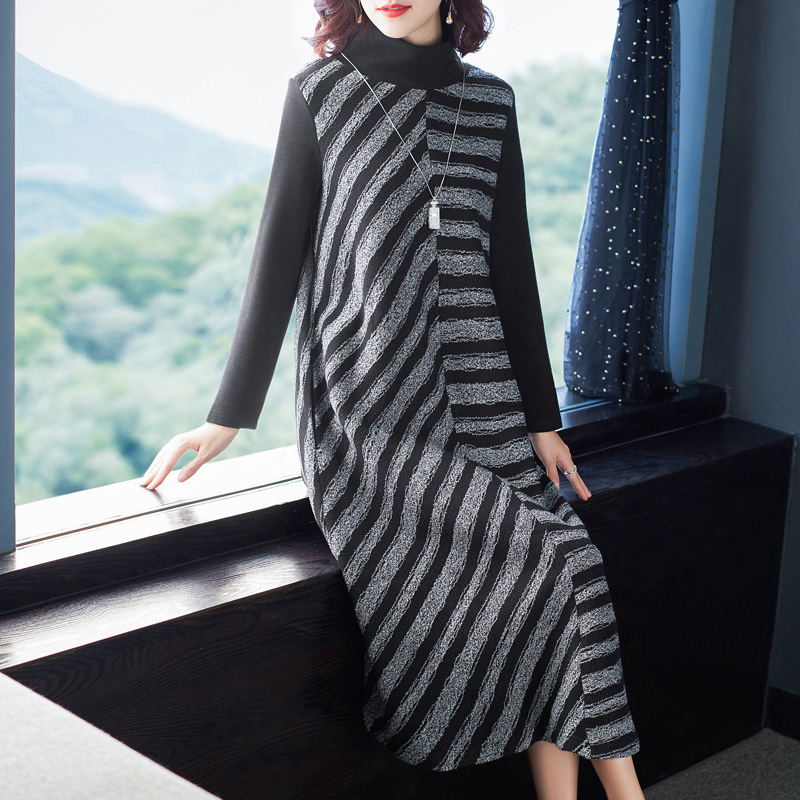 Loose Knitted Dress 2019 Winter Fashion Women's New Turtleneck Long Sleeved Striped A-Line Mid-calf Dress Female Free Shipping