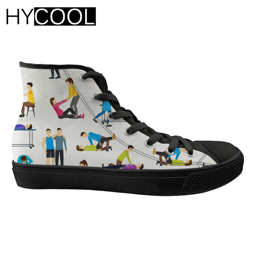 HYCOOL Emergency Help Printing Walking Shoes for Ladies Comfortable High Top Canvas Sports Shoes Ladies Lace up Female Sneakers