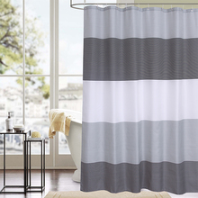 Transverse Stripes Polyester Fabric Bathroom Curtain Decor Precise Waterproof Shower High Quality Fastness Bath Curtains