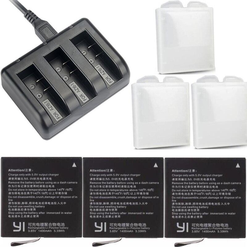 Para Xiaomi YI 4 K AZ16-1 Bateria Original Carregador USB 3-way para Câmera de Ação de 2 Acessórios 1400 mAh Xiaomi yi 4 K + Lite bateria