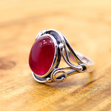 The character of silver 925 silver jewelry handmade lady Thailand folk style red corundum Ring NEW