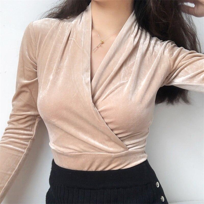 2019 otoño invierno cálido pleuche T camisa mujeres Camiseta de manga larga cuello en V Slim Tops Harajuku Sexy Color sólido básico camiseta jersey