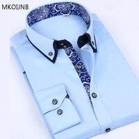 Spring Autumn Mens Mercerized Cotton Long Sleeved Shirt Slim Anti Wrinkle Free Inch Business Slim Men