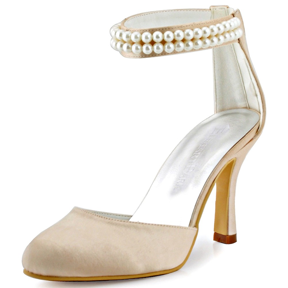 ФОТО AJ3065 Woman Shoes Champagne Round Toe Pearls Ankle Straps Zipper High Heel Satin Wedding Bridal Shoes Women Pumps Party Shoes