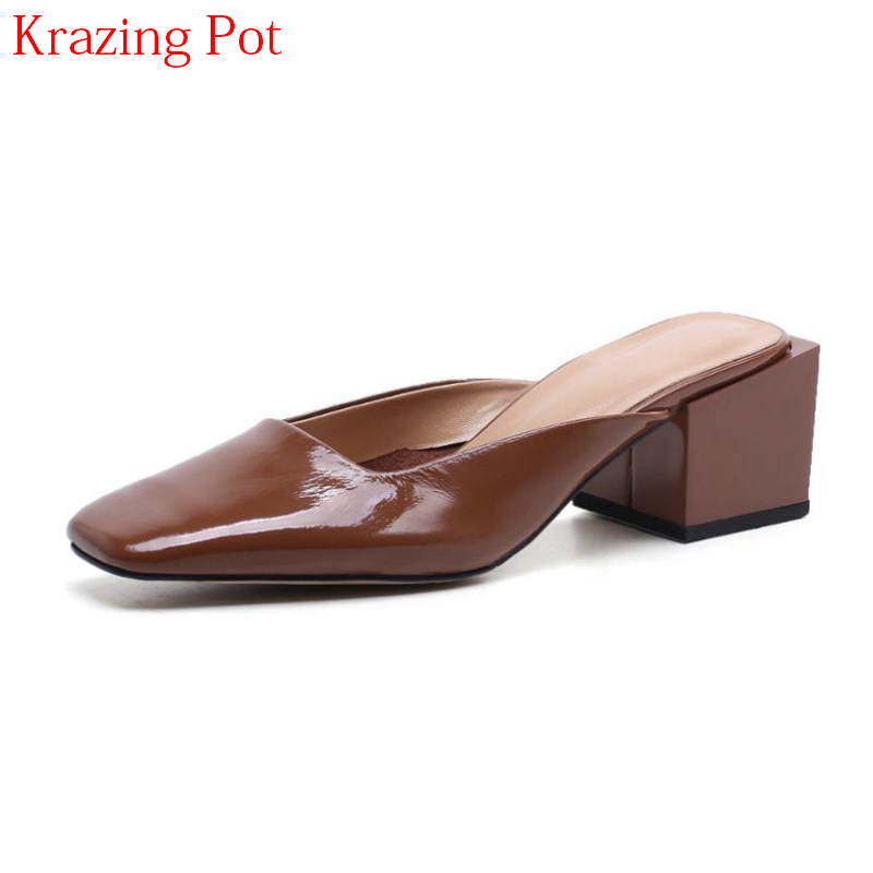 2018 Hot Sale Full Grain Leather Mules Shoes Fashion Brand Slingback Women Pumps Retro Square Toe High Heels Summer Shoes L55
