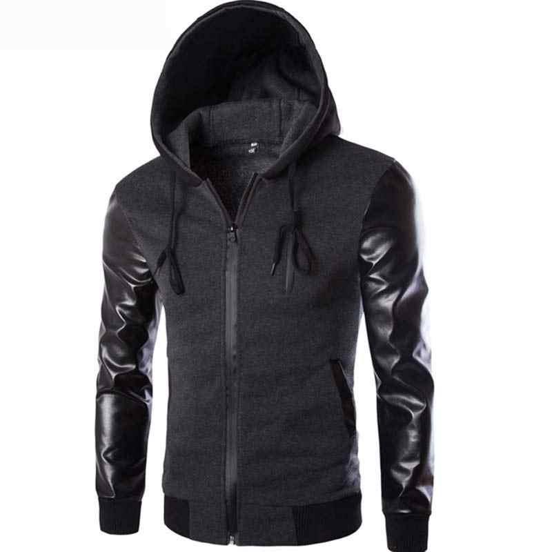 Serin kapşonlu ceket erkekler 2017 bahar moda Pu deri kollu Splice bombacı ceket rahat rüzgarlık Blouson Veste ter Homme