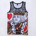 Новое лето стиль женщины мужская топы поверхность сетки быстросохнущие жилет джерси Poker King Королева Дышащие жилеты без рукавов футболка