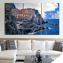 Manarola In Italy Painting One Set 3 Piece Modular Style Picture Modern On Canvas Print Type Home Decor Wall Artwork Poster