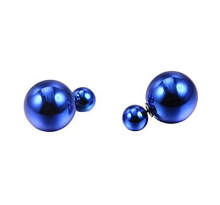 1 pár knoflíky / hodně módní dámské velké perly simulované perlové bonbóny piercing prohlášení svatební náušnice dvojité čelí