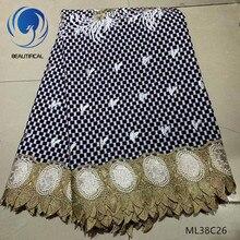 Красивая восковая ткань хлопок африканская восковая Ткань 6 ярдов нигерийская кружевная вощеная ткань высокого качества 2019 для свадебного ML38C07-30