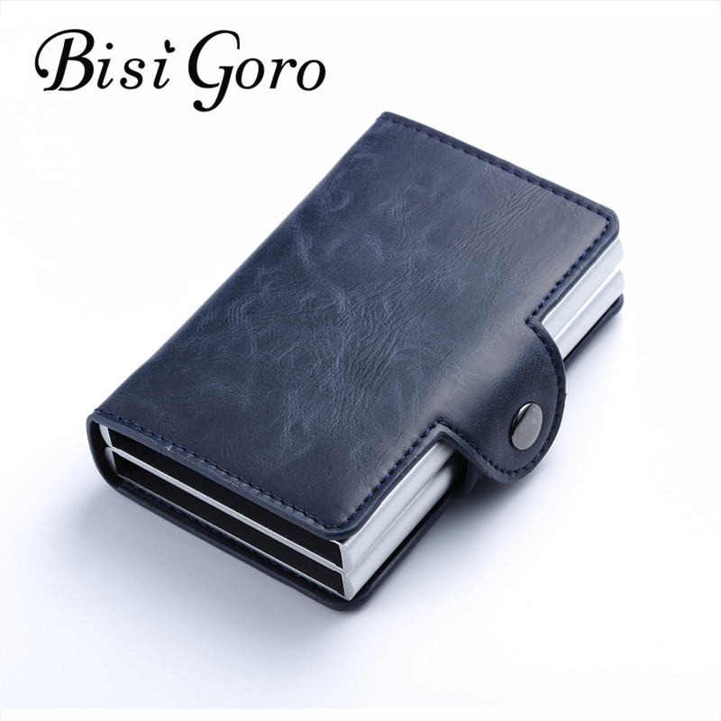 Bisi Goro 2018 Men And Women Business Credit Card Holder Metal RFID Double Aluminium Box Crazy Horse Leather Travel Card Wallet