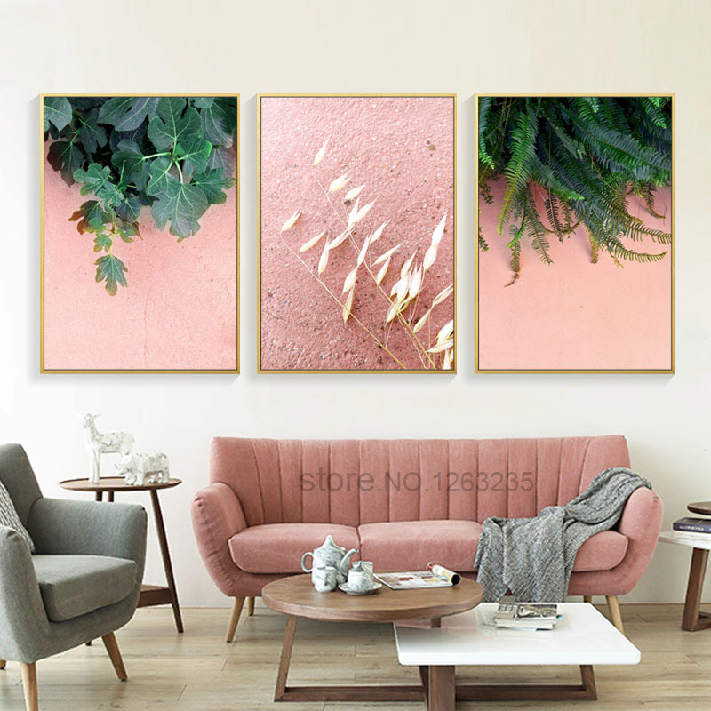 Green Leaf Poster Pink Abstract Wall Art Canvas Painting Cuadros ...
