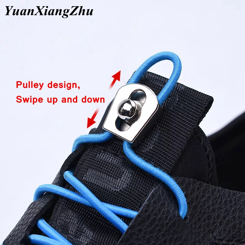 1Pair No Tie Shoe Laces Elastic Metal Buckle Round Shoelaces Kids Adult Quick Lazy Sneakers Shoelace Shoe Laces Shoestrings