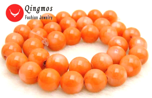 Qingmos 14-15mm High Quality 100% Round Orange Natural Coral Beads for Jewelry Making Necklace Bracelet Loose Strand 15-los32 qingmos 14 15mm high quality 100% round orange natural coral beads for jewelry making necklace bracelet loose strand 15 los32