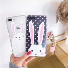Cyato cute spot white rabbit mobile phone case for iPhone 7 6 all-inclusive soft shell 8 plus X