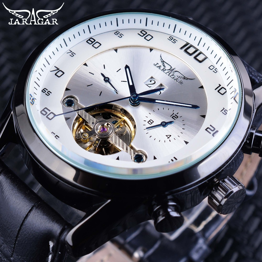 Jaragar Hot Racing Series White Dial Complete Calendar Luminous Hands Mens Automatic Watches Toubillion Design Relojes MasculinoJaragar Hot Racing Series White Dial Complete Calendar Luminous Hands Mens Automatic Watches Toubillion Design Relojes Masculino