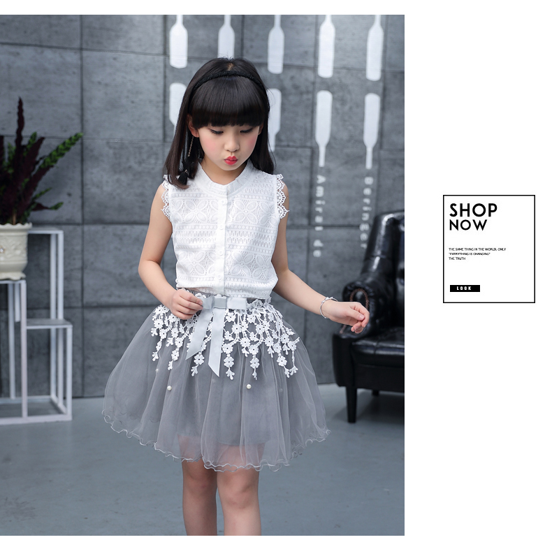 Toddler girl Summer dresses Sleeveless 2-pieces-sets Lace vest + bud silk gauze stitching skirt AliExpress Hot Sale 120 130 140 (17)
