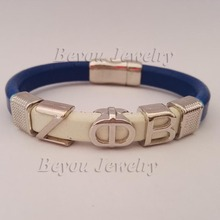 Personalizada estilo alfa regalo de la joyería ZETA PHI BETA Sorority divino fraternidad ZPB cuero pulsera magnética del brazalete