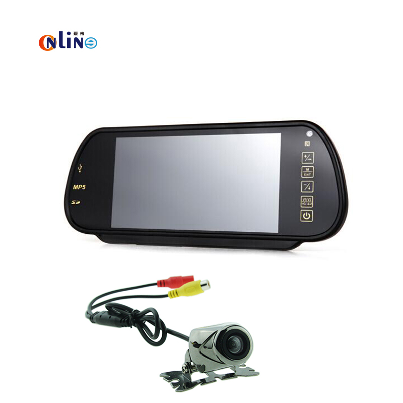 Auto Parking 7'' Display TFT LCD Car Monitor Mirror Bluetooth MP5 USB SD+ 170 degrees wide angle Rearview camera Back up Cam aumohall 7 tft lcd mp5 car rear view mirror monitor auto vehicle parking rearview monitor sd usb mp5 for reverse camera