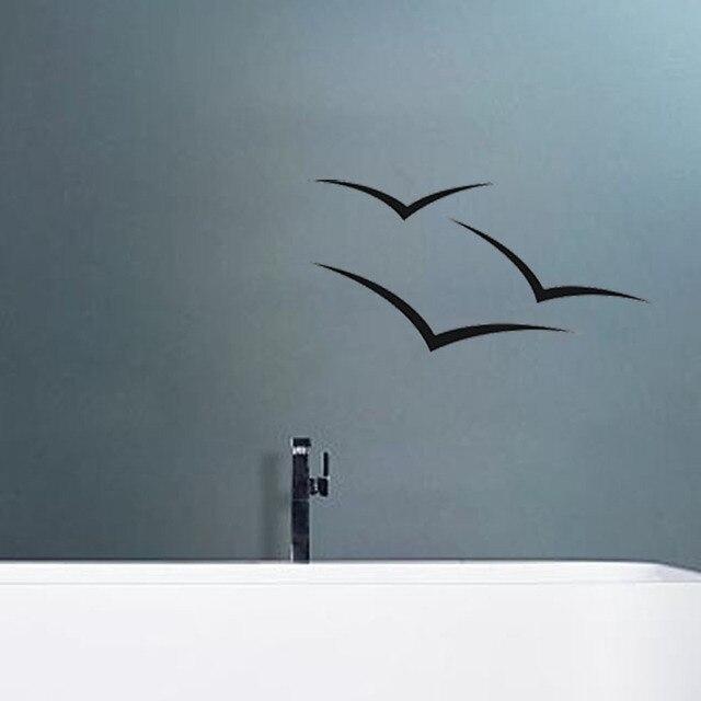 Seagull vogel umriss bad wandaufkleber badezimmer for Design vinyl badezimmer