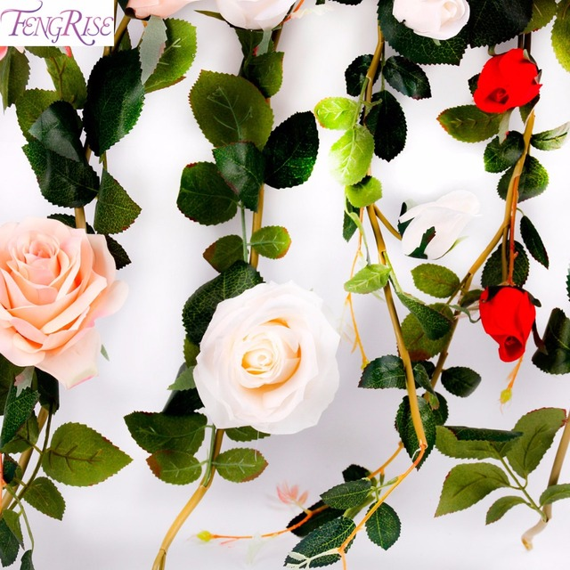 Fengrise 18m fake silk rose flower wedding wall ivy vine hanging fengrise 18m fake silk rose flower wedding wall ivy vine hanging artificial garland real touch mightylinksfo