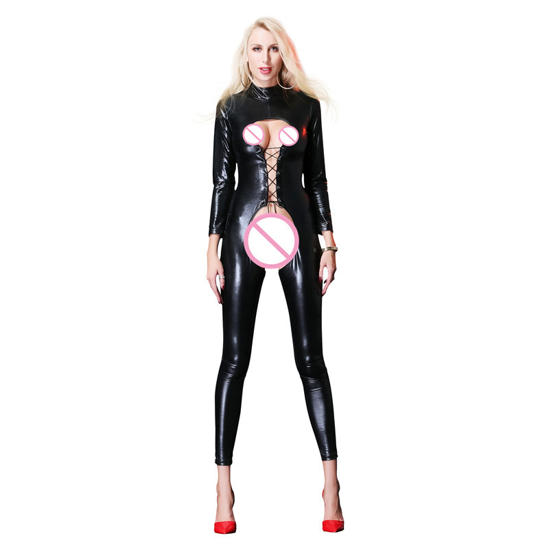AIIOU Sexy Women Faux Leather Latex Jumpsuits Exotic Black Hollow Out T-Back Bandage Catsuit Nightclub Long Jumpsuits Clothing