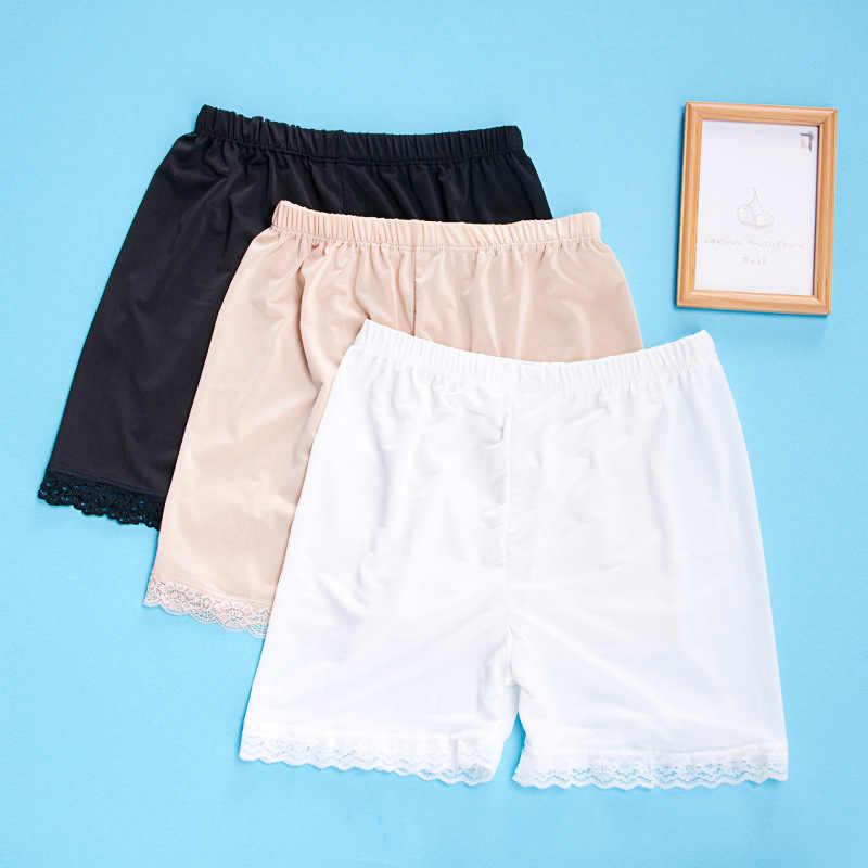 2019 летние женские тонкие шорты безопасности штаны для женщин сплошной цвет черный белый кожа модал дамы кружева безопасный под одеждой CD001