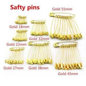 1000 Uds alfileres dorados de seguridad para etiquetas de ropa Cuerdas/cordones uso DIY accesorios de ropa alfileres longitud 18mm-55mm envío gratis