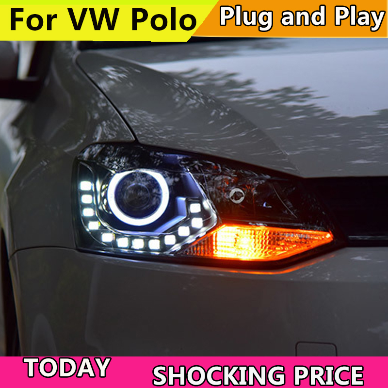 Car Head Lamp For VW Polo LED Headlight 2010-2016 Polo GTI headlights Angel Eyes LED DRL Bi-Xenon Lens HID Front light auto lighting style led head lamp for mazda 3 axe headlights for axela led angle eyes drl h7 hid bi xenon lens low beam
