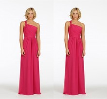 2015 Mild  One Shoulder Sweetheart Pleat  Chiffon A-Line Floor-Length Bridesmaid Dress Vestido De Festa